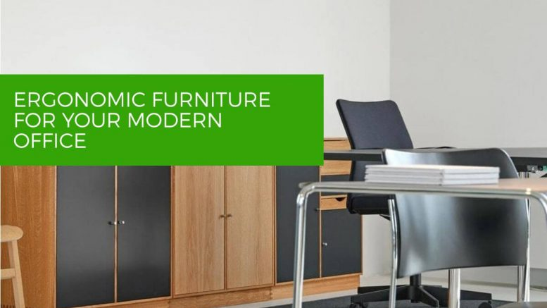 Modern office with ergonimic furniture